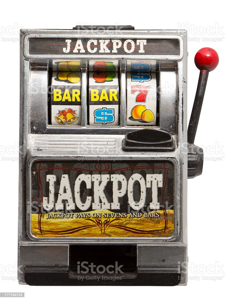 Small slot machine that can win a jackpot stock photo