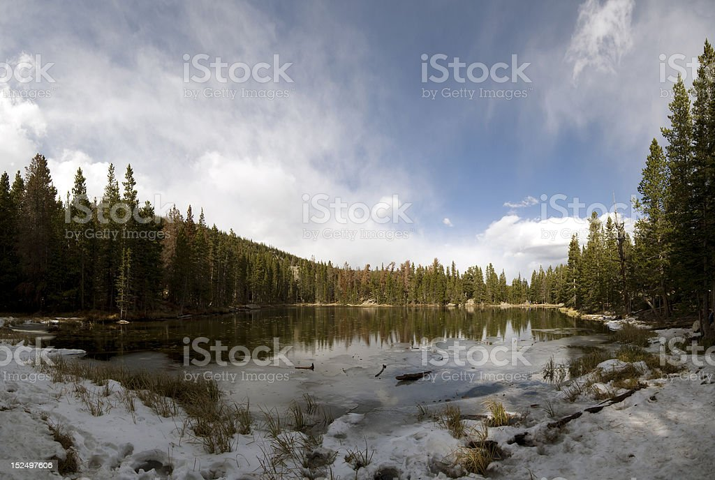 Small snowy lake stock photo