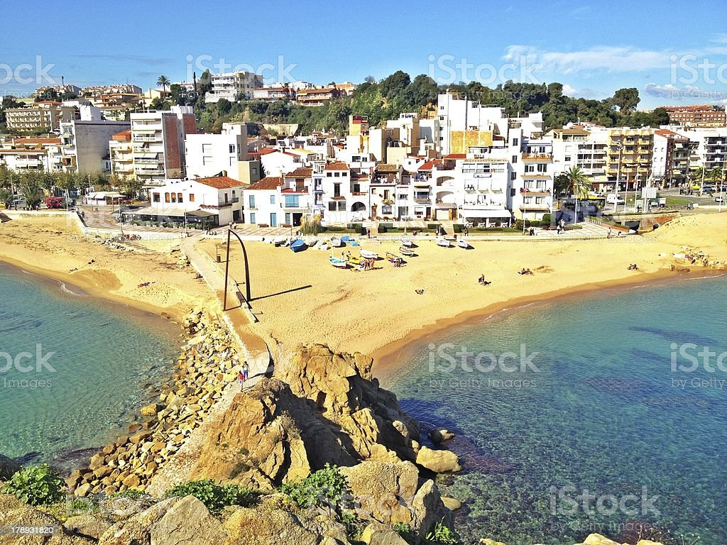 Small Spanish town by Mediterranean Sea stock photo