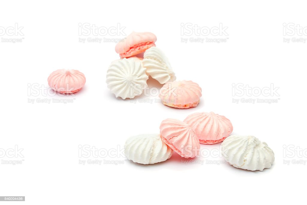 small spiral meringue on a white background stock photo