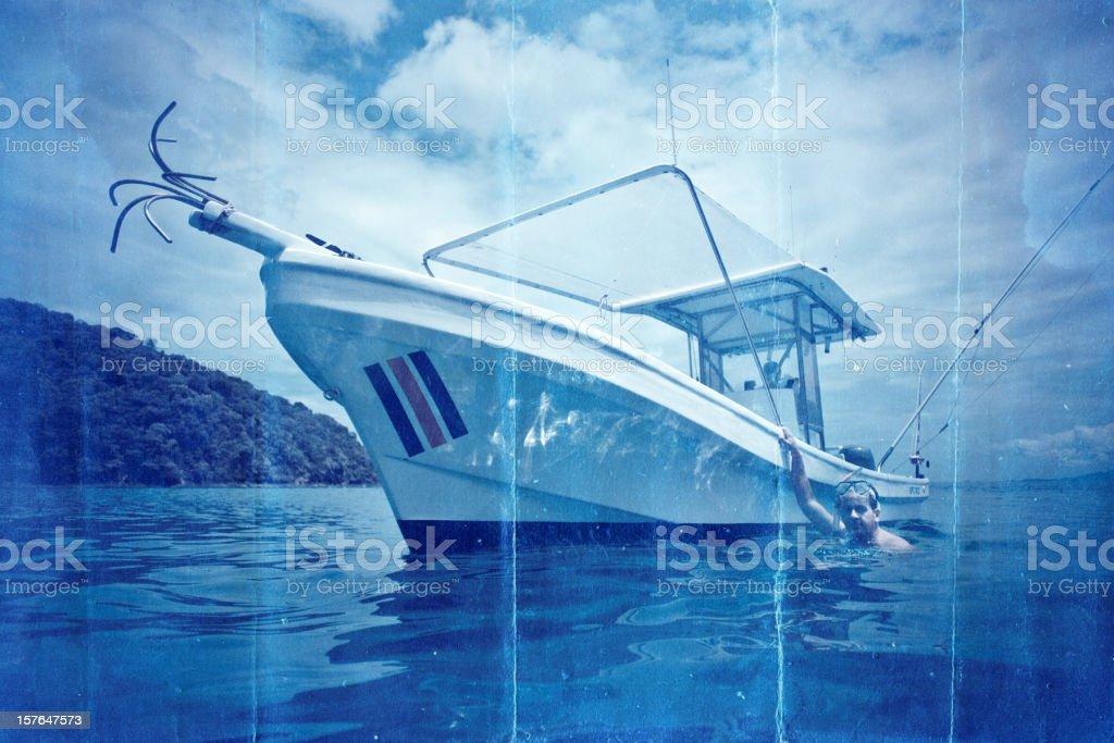 small sport fishing boat in costa rica stock photo