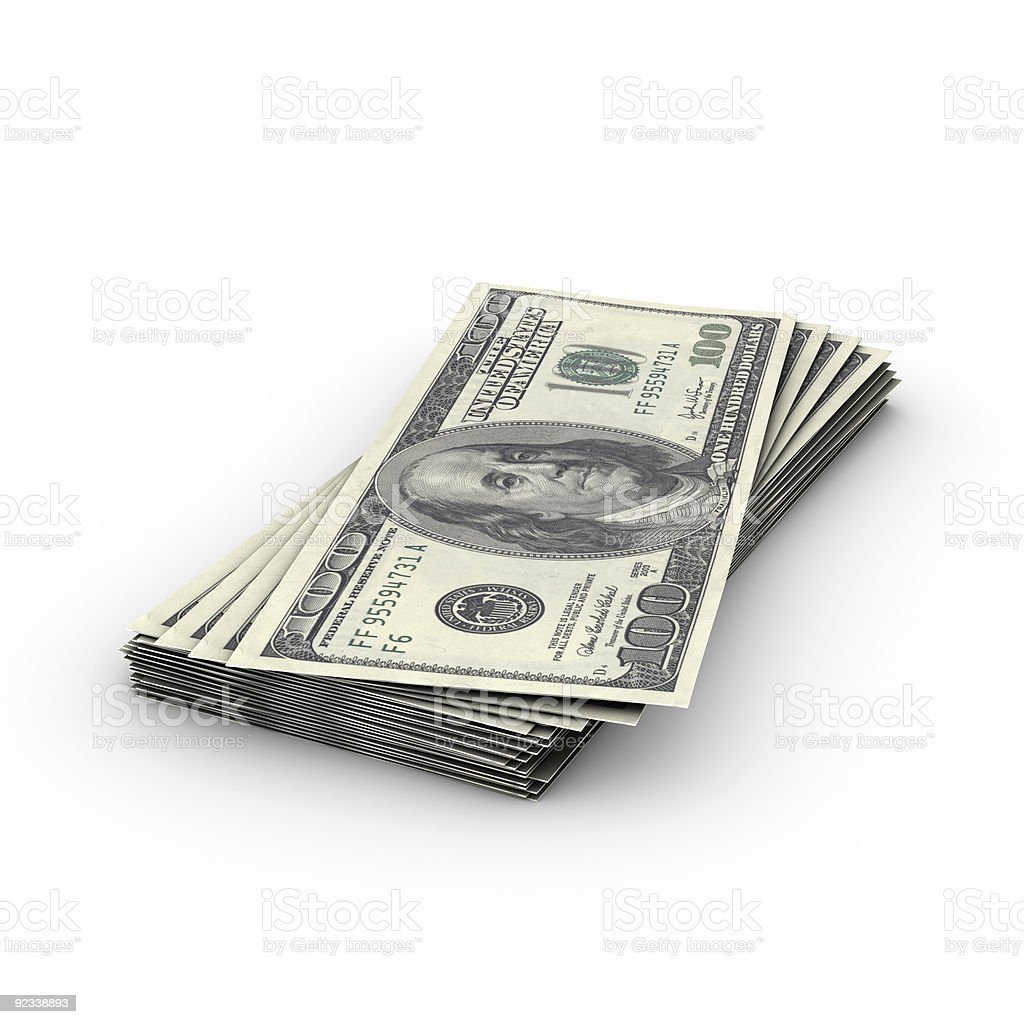 A small stack of $100 U S Bills royalty-free stock photo