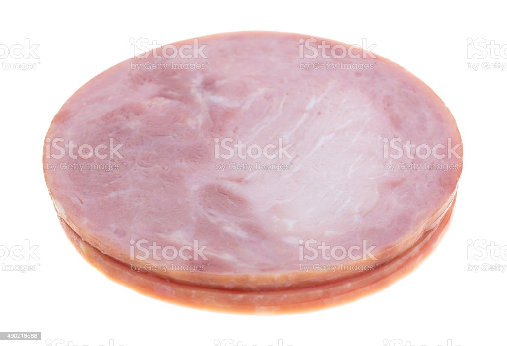 Small stack of honey ham deli meat stock photo