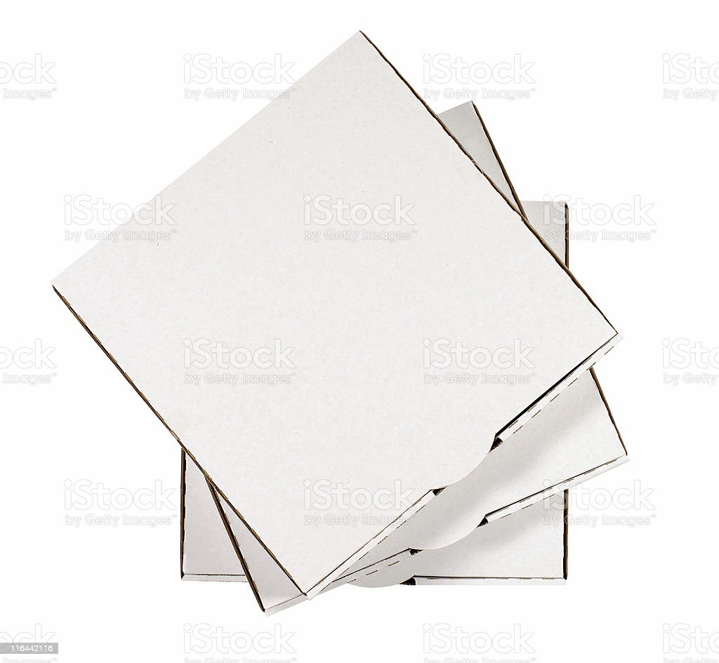 Small stack of plain pizza boxes stock photo