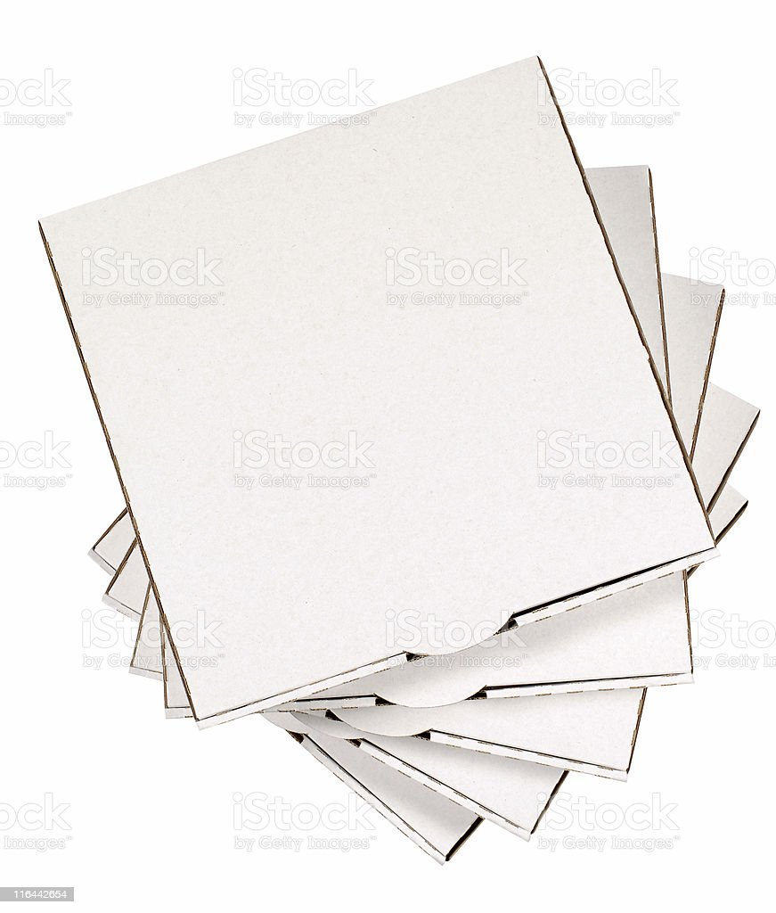 Small stack of plain pizza boxes royalty-free stock photo