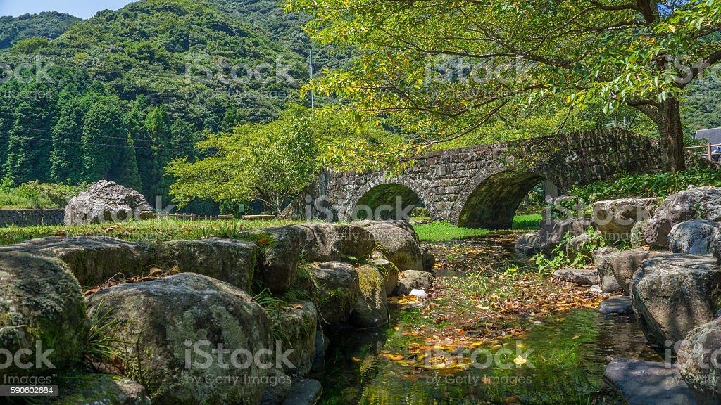 Small stone bridge in Japan. stock photo