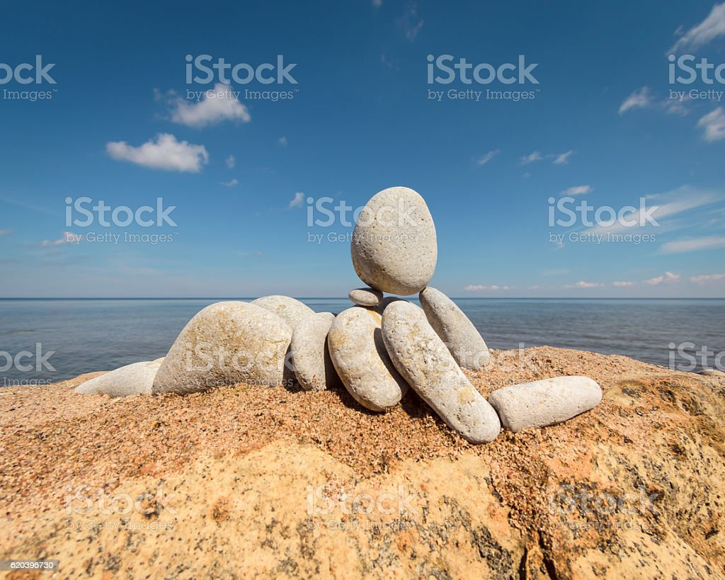 Small stone figurine stock photo