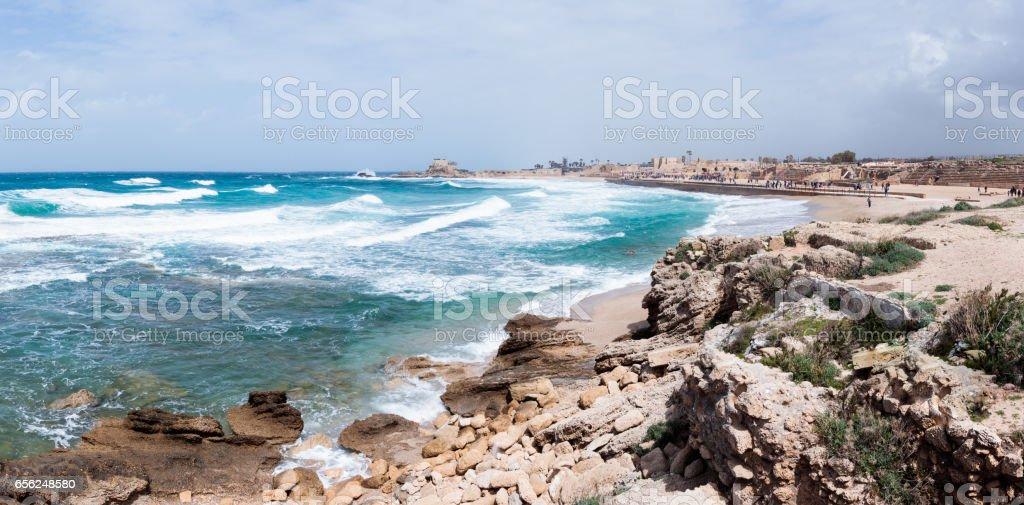 Small storm on Mediterranean Sea on the port of Caesarea stock photo