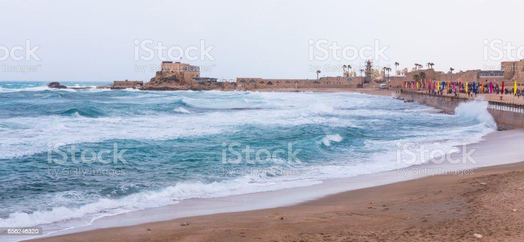 Small storm on the promenade of Caesarea stock photo