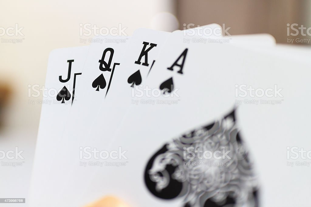 Small straight in playing cards stock photo