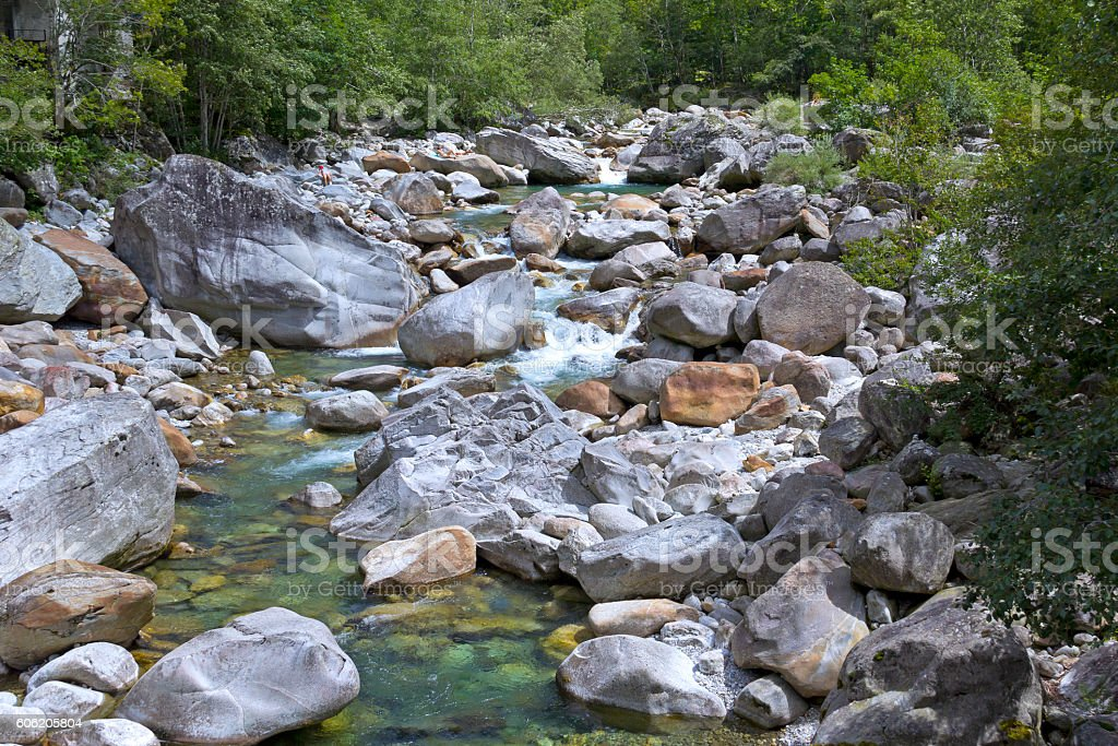 Small stream in the mountains of Ticino stock photo