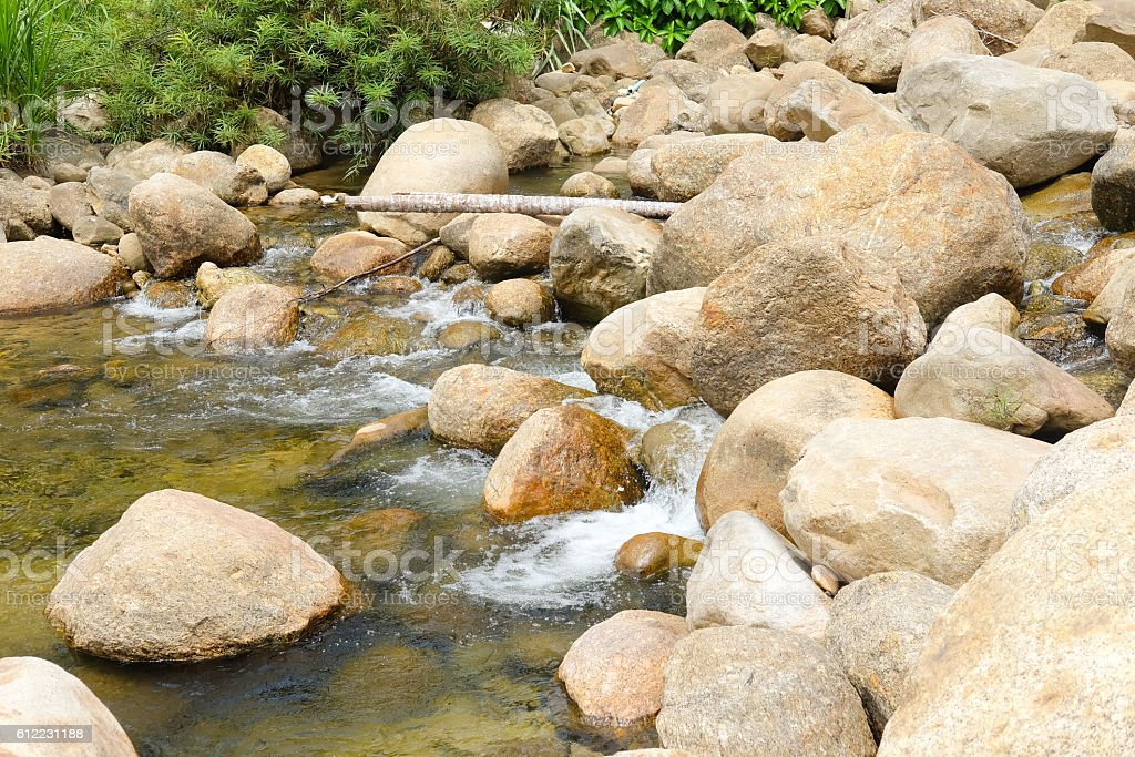 small stream over rocks in Khiriwong Sichon, Thailand stock photo