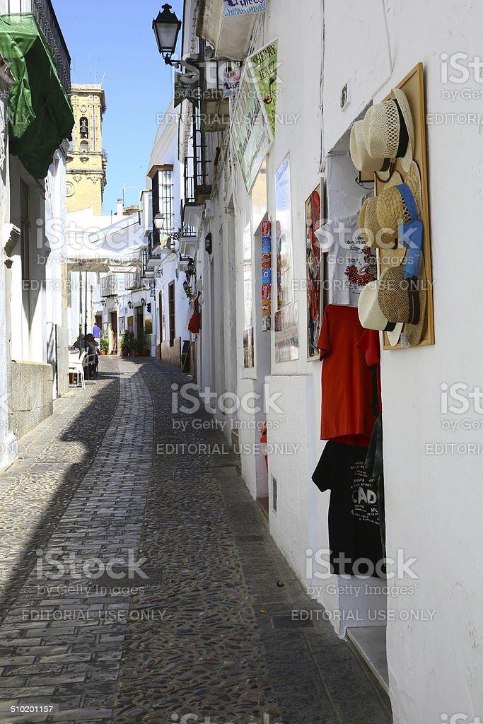 Small street in Arcos de la Frontera, Spain stock photo
