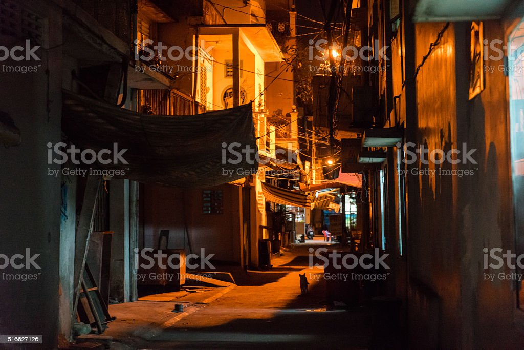 Small street in center of Sai Gon. Viet Nam stock photo