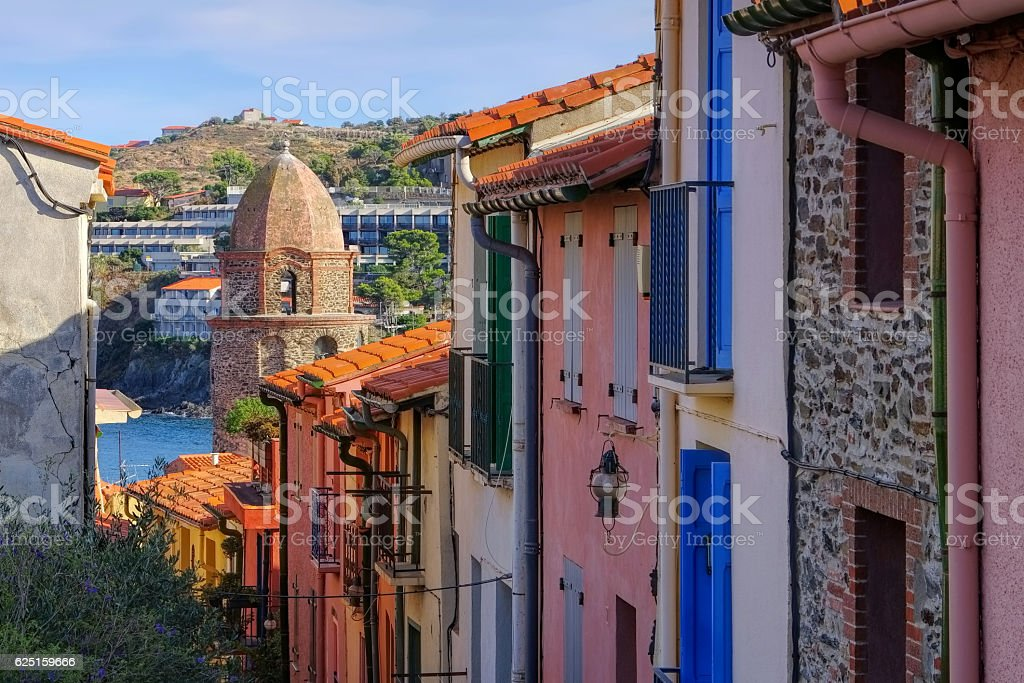 small street in Collioure in France stock photo