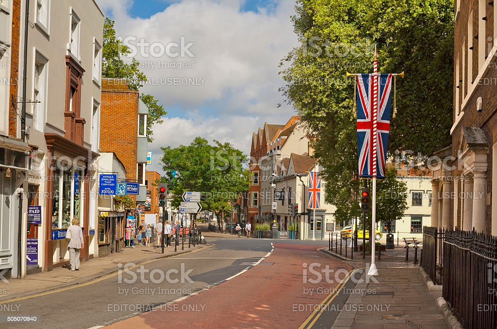 Small street in the center of Windsor, England stock photo