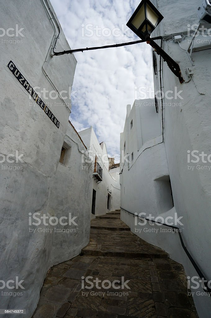 Small Street in Vejer de la Frontera, Spain stock photo