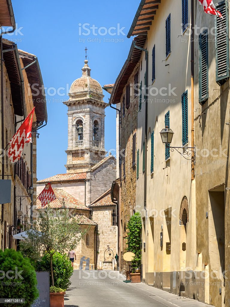 Small streets in San Quirico d'Orcia stock photo
