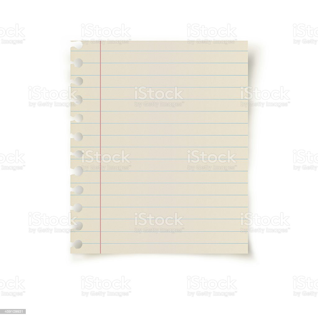 Small striped notebook leaf in blank stock photo