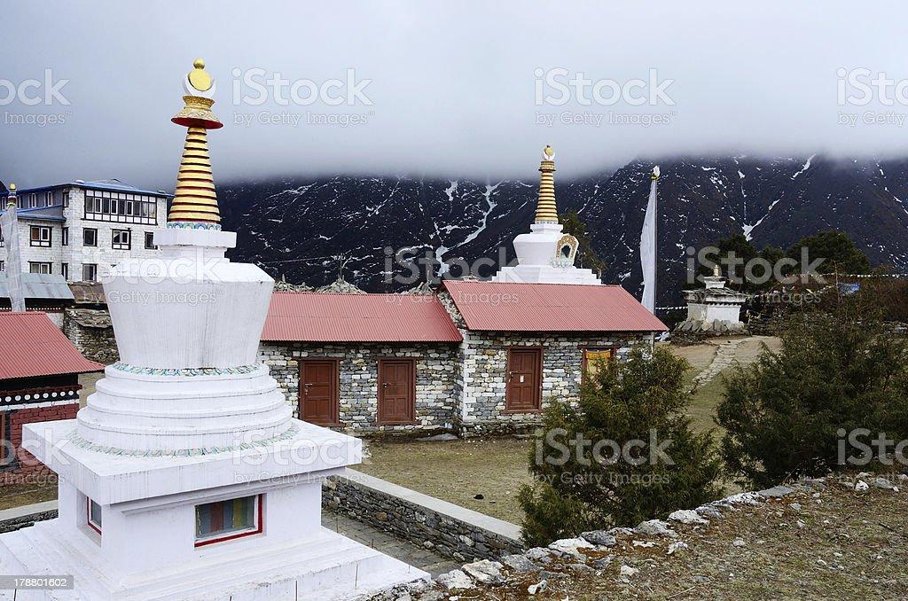Small stupas in Tengboche buddhist monastery,Everest region,Nepal stock photo