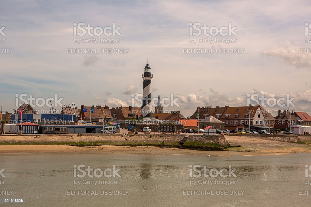 small summer holiday town at coast of normandy calais france stock photo