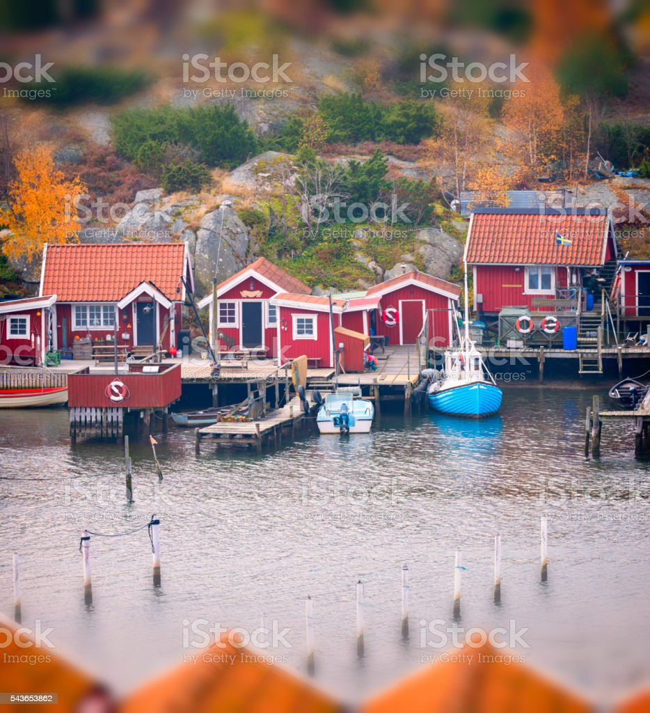 Small Swedish fishing village stock photo