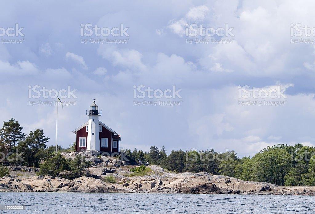 Small Swedish lighthouse stock photo
