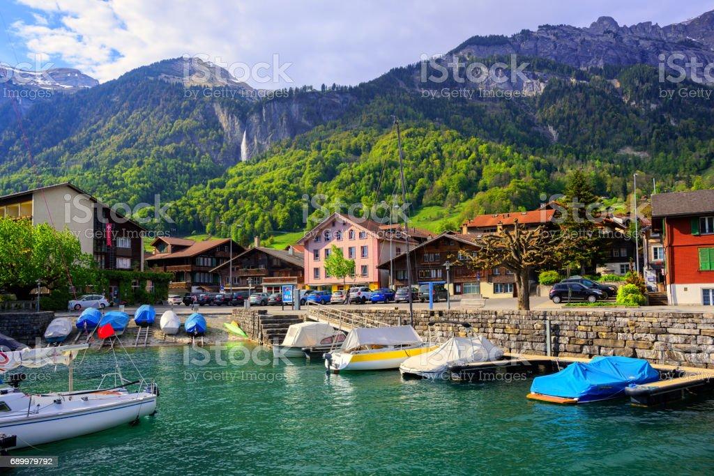 Small swiss town on Lake Interlaken, Switzerland stock photo