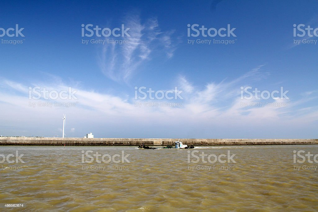 Small tanker sails the Tonegawa royalty-free stock photo
