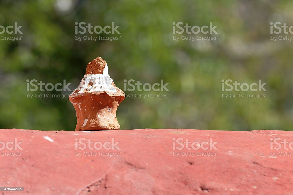 Small terracotta piece. Drak Yerpa-Tibet. 1505 stock photo