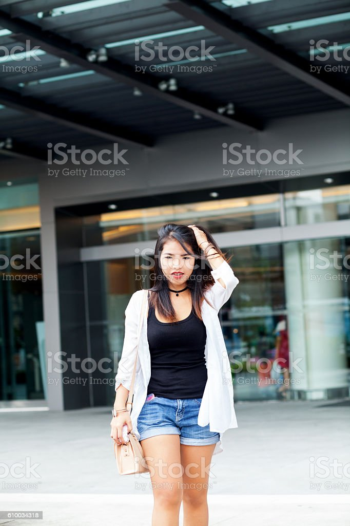 Small thai coming coming from mall stock photo