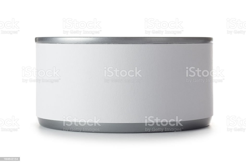 Small tin can with blank label on a white background stock photo