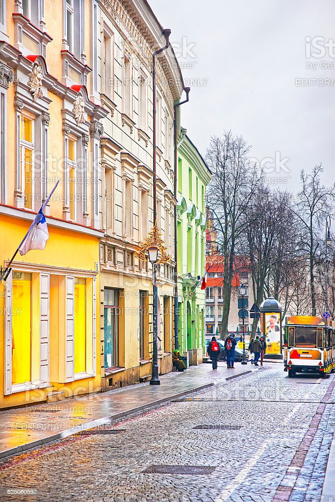 Small Tourist Bus in Pilies Street in Vilnius stock photo