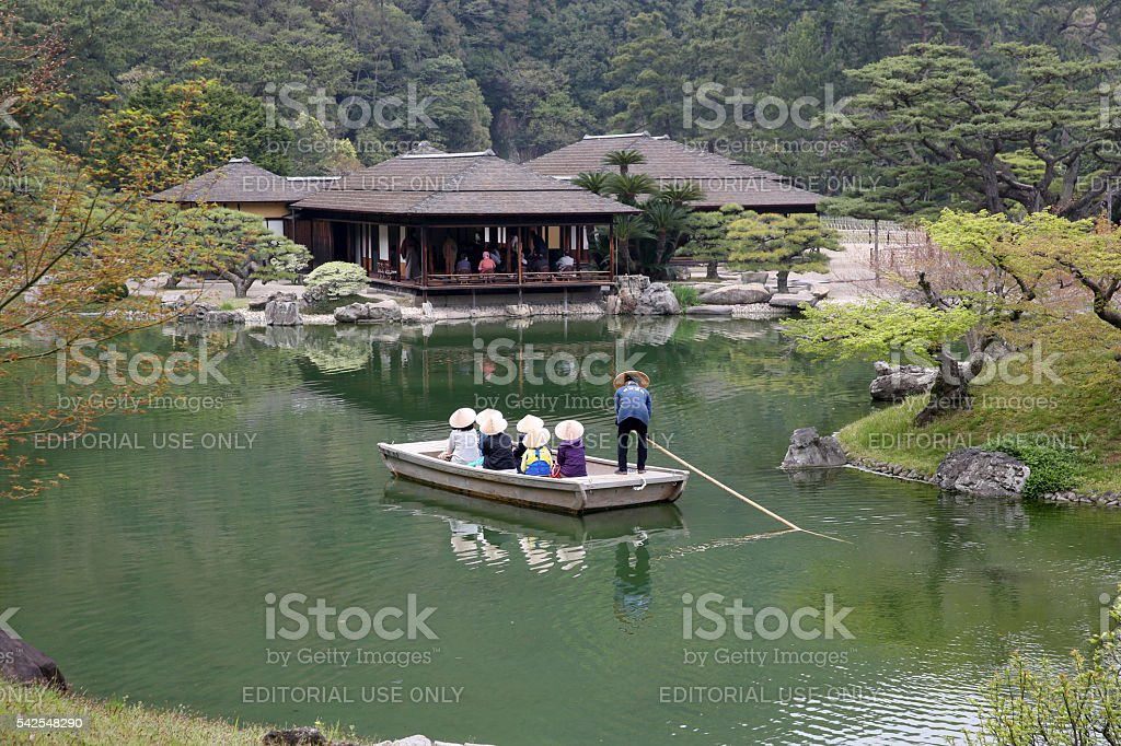 Small tourist ship of the pond stock photo