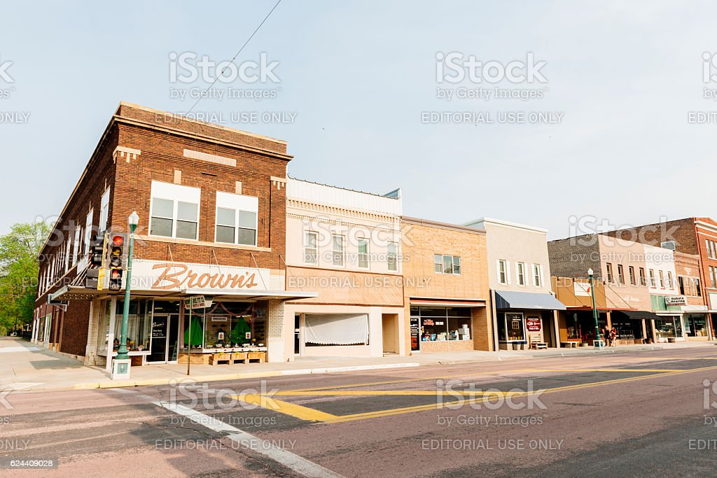 Small Town America Mitchell South Dakota Western USA Street Scene stock photo