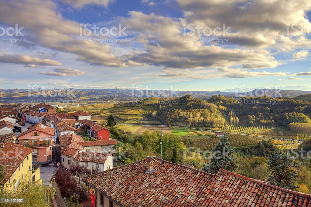 Small town among hills. Piedmont, Italy. royalty-free stock photo