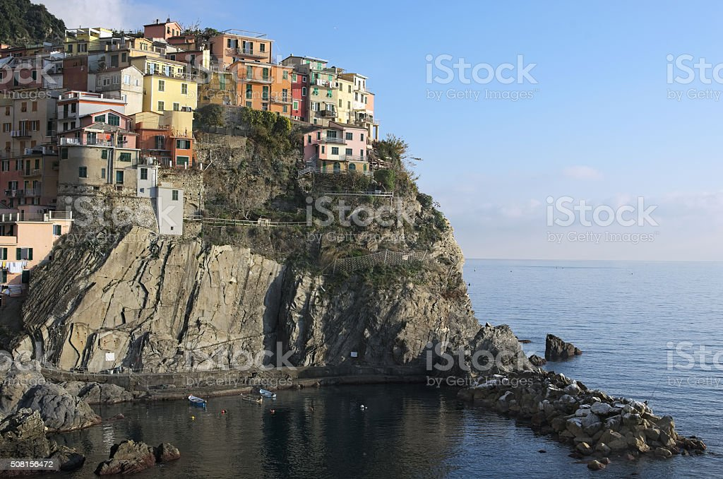 Small town built on the rocks. Manarola. The Cinque Terre stock photo