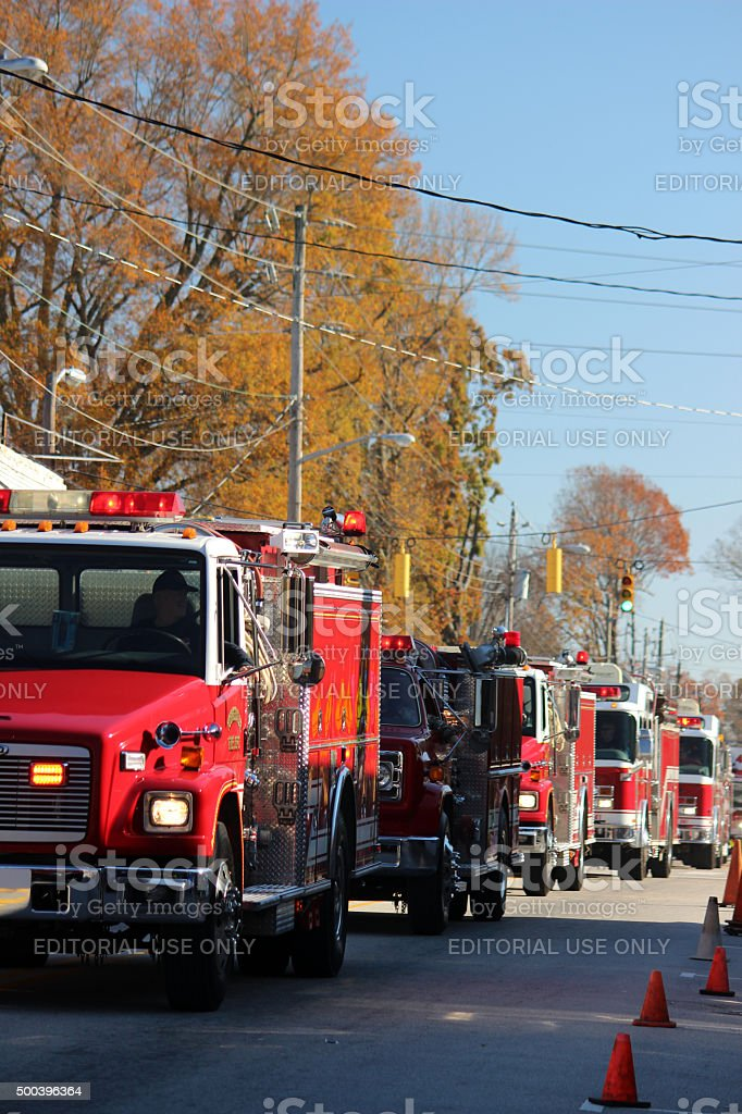 Small Town Christmas Parade: Fire Engines stock photo
