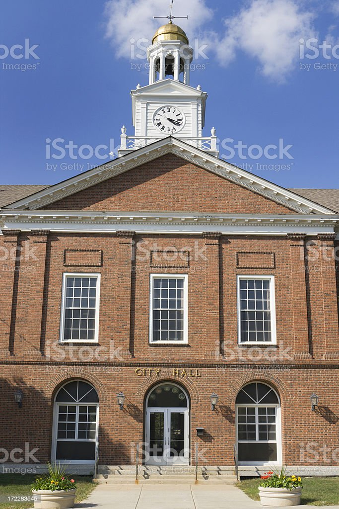 Small Town City Hall, Local Government Building in Rural America stock photo