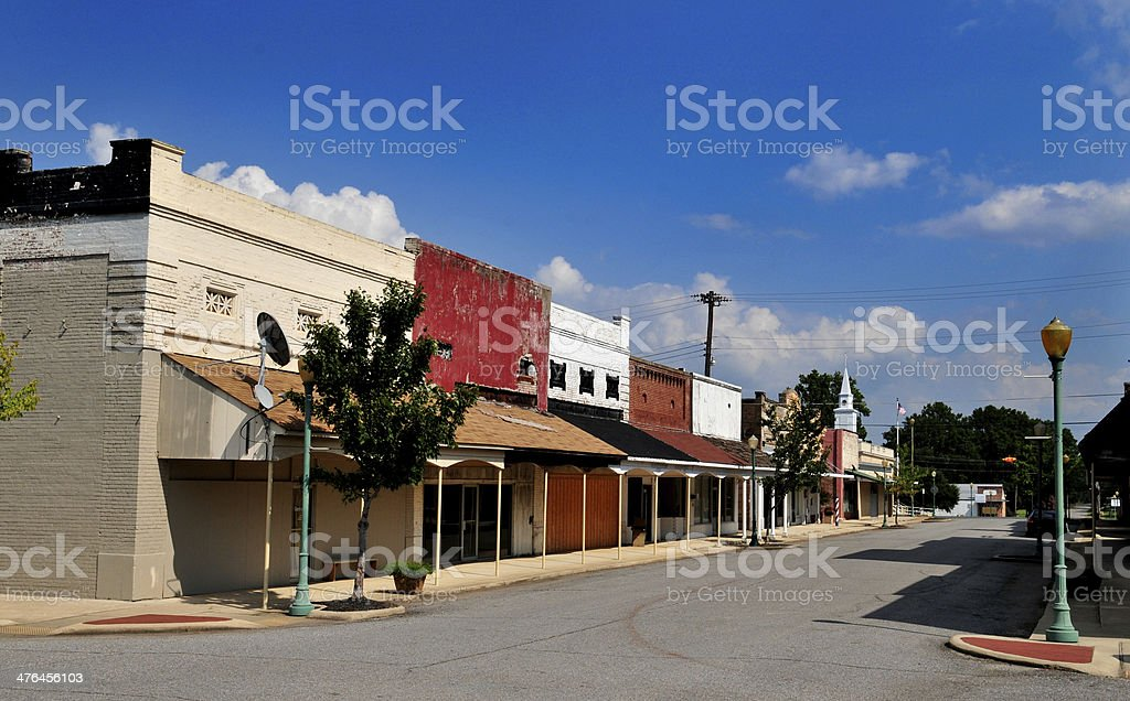 Small Town Downtown Boarded Up stock photo