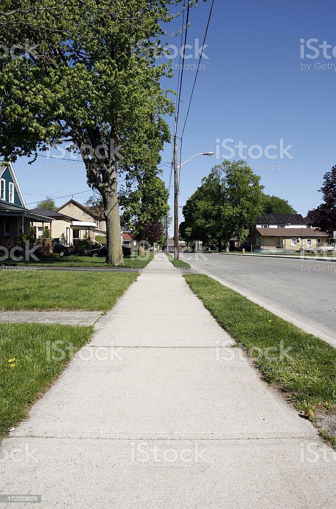 Small Town Empty Sidewalk royalty-free stock photo