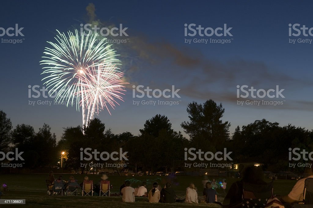 Small Town Fireworks royalty-free stock photo