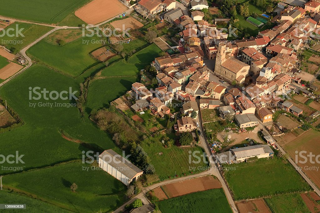 Small town in Catalonia from the balloon royalty-free stock photo