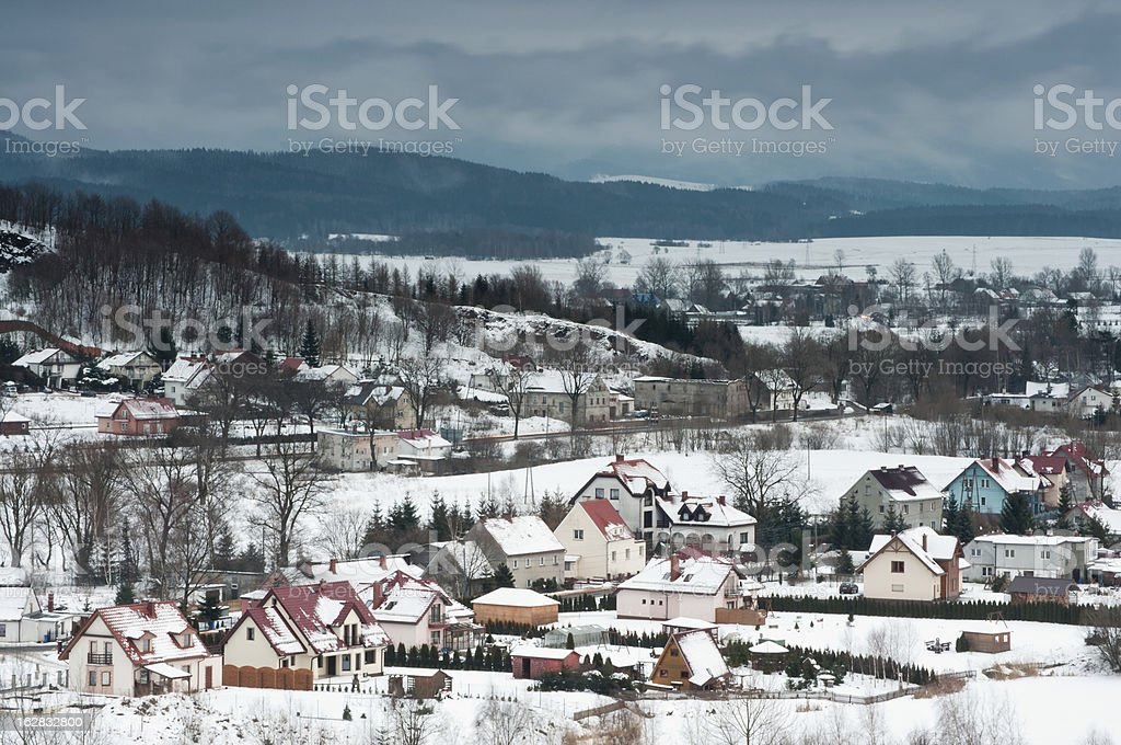 Small town in snowy mountains royalty-free stock photo