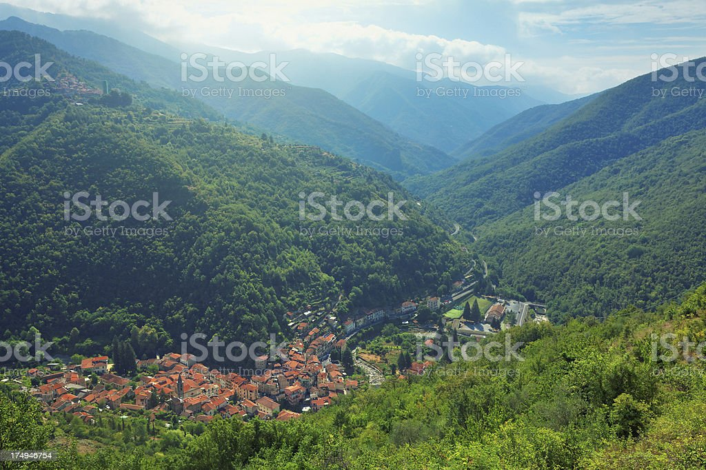 Small town in the walley stock photo