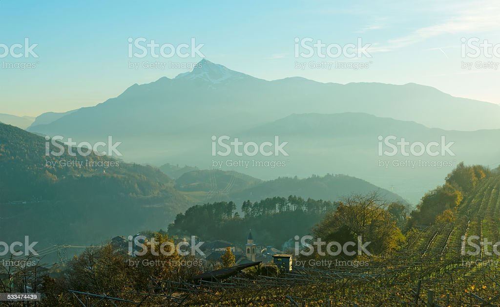 Small town in Trentino area, northern Italy stock photo