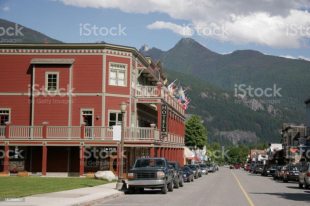 Small Town Kaslo British Columbia stock photo