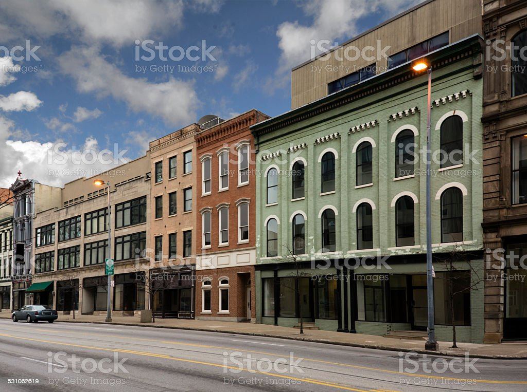 Small Town Main Street stock photo