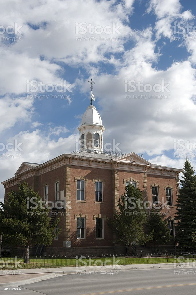 Small Town Main Street with Courthouse stock photo