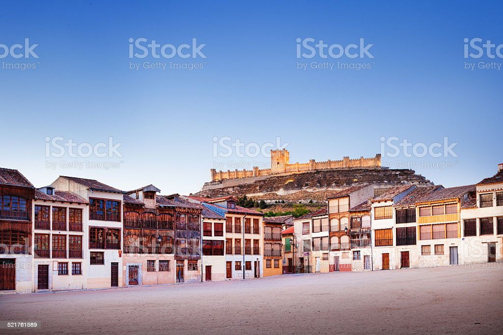 Small town of Penafiel with Castle and Old Square stock photo